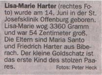 Chrom-Nickel-Kupfer Band - Text - zur Geburt von Lisa-Marie Harter