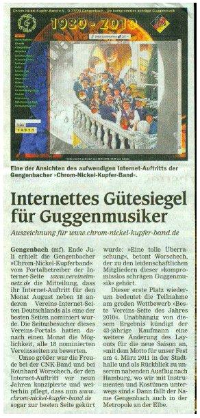 Chrom-Nickel-Kupfer Band - OT Bericht vom 17.09.2010 - Marc Faltin - Internettes Gütesiegel für Guggenmusiker