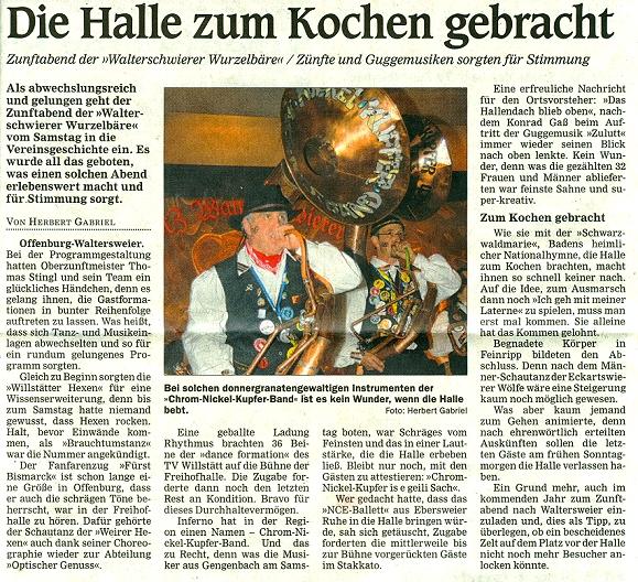Chrom-Nickel-Kupfer Band - Mittelbadische Presse - OG-Stadtteile - 25.01.2012 - Herbert Gabriel