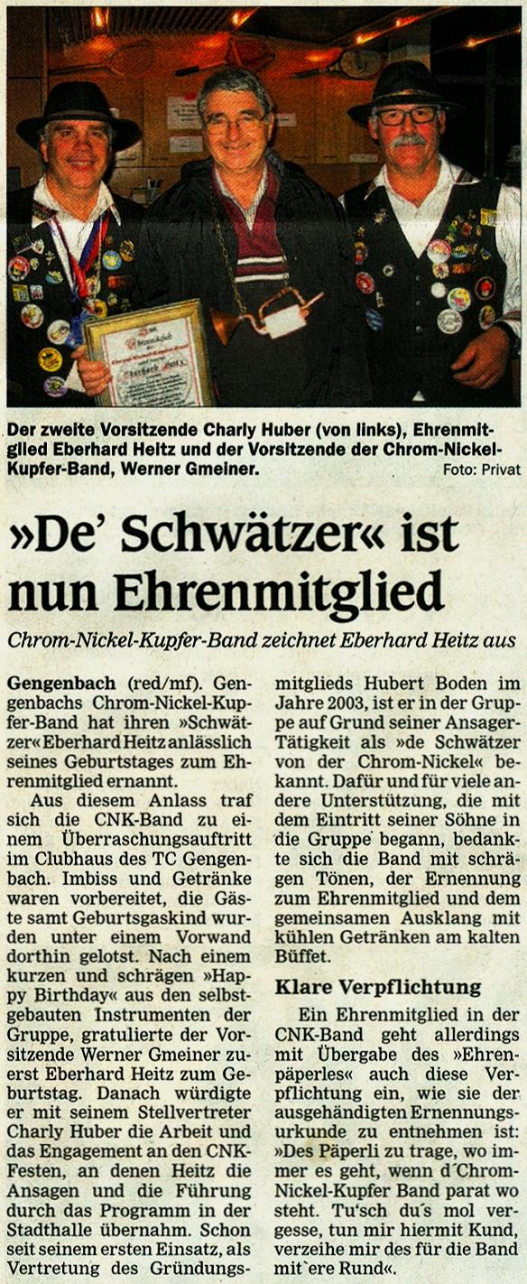 Chrom-Nickel-Kupfer Band - OT - 06. November - Eberhard Heitz - Ehrenmitgliedschaft